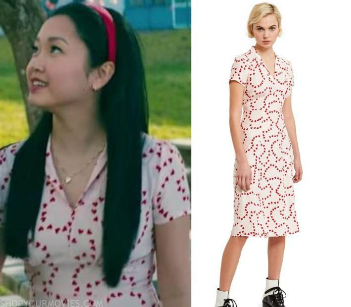 To All the Boys 2: Lara's White & Red Heart Print Dress