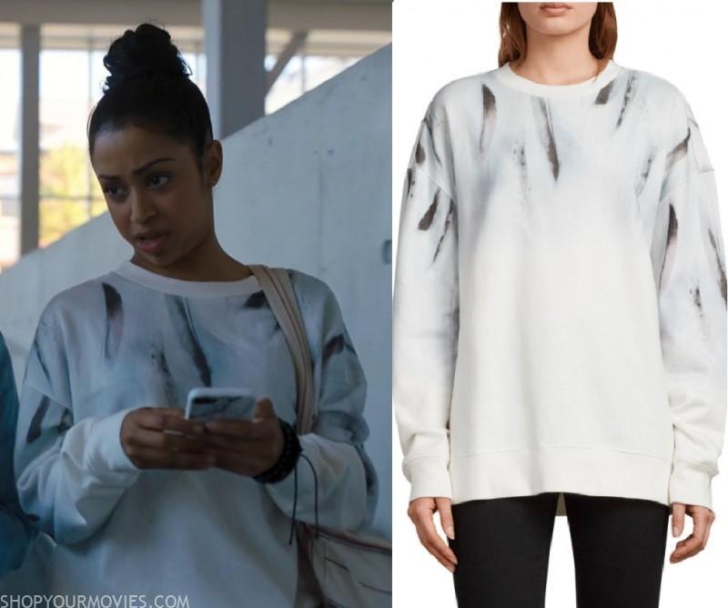 Work It Jasmine S White Feather Print Sweater Shopyourmovies